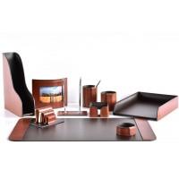 Настольный набор из кожи TOSCANA TAN/CUOIETTO шоколад 10 предметов 2