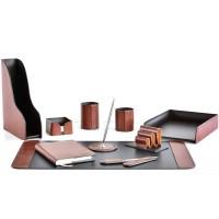 Настольный набор из кожи TOSCANA TAN/CUOIETTO шоколад 10 предметов