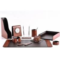 Настольный набор из кожи TOSCANA TAN/CUOIETTO шоколад 10 предметов 3
