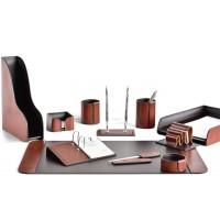 Настольный набор из кожи TOSCANA TAN/CUOIETTO шоколад 11 предметов 2