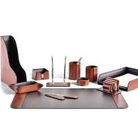 Настольный набор из кожи TOSCANA TAN/CUOIETTO шоколад 11 предметов