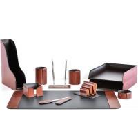 Настольный набор из кожи TOSCANA TAN/CUOIETTO шоколад 11 предметов 3