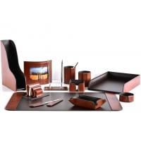 Настольный набор из кожи TOSCANA TAN/CUOIETTO шоколад 12 предметов