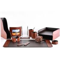 Настольный набор из кожи TOSCANA TAN/CUOIETTO шоколад 12 предметов 3