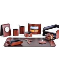 Настольный набор из кожи TOSCANA TAN/CUOIETTO шоколад 12 предметов 4