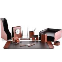 Настольный набор из кожи TOSCANA TAN/CUOIETTO шоколад 12 предметов 6