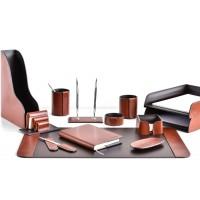 Настольный набор из кожи TOSCANA TAN/CUOIETTO шоколад 13 предметов 4