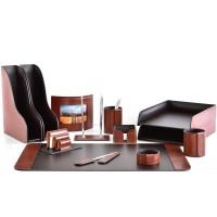 Настольный набор из кожи TOSCANA TAN/CUOIETTO шоколад 13 предметов 5
