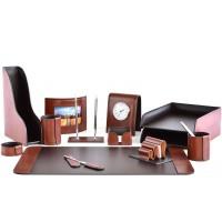Настольный набор из кожи TOSCANA TAN/CUOIETTO шоколад 13 предметов 6