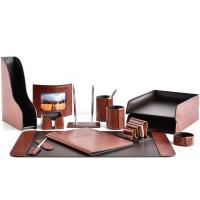 Настольный набор из кожи TOSCANA TAN/CUOIETTO шоколад 13 предметов 7