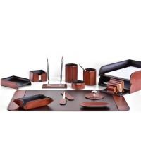 Настольный набор из кожи TOSCANA TAN/CUOIETTO шоколад 14 предметов