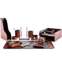 Настольный набор из кожи TOSCANA TAN/CUOIETTO шоколад 15 предметов