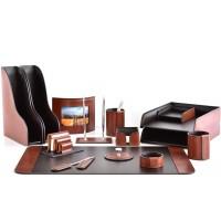 Настольный набор из кожи TOSCANA TAN/CUOIETTO шоколад 15 предметов 3