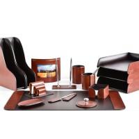 Настольный набор из кожи TOSCANA TAN/CUOIETTO шоколад 15 предметов 4