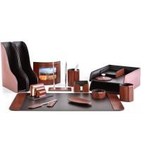 Настольный набор из кожи TOSCANA TAN/CUOIETTO шоколад 16 предметов 2