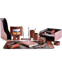 Настольный набор из кожи TOSCANA TAN/CUOIETTO шоколад 16 предметов
