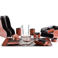 Настольный набор из кожи TOSCANA TAN/CUOIETTO шоколад 16 предметов 3