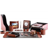 Настольный набор из кожи TOSCANA TAN/CUOIETTO шоколад 16 предметов 4