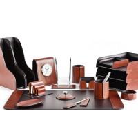 Настольный набор из кожи TOSCANA TAN/CUOIETTO шоколад 17 предметов
