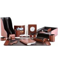 Настольный набор из кожи TOSCANA TAN/CUOIETTO шоколад 18 предметов