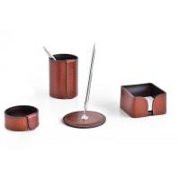 Настольный набор из кожи TOSCANA TAN/CUOIETTO шоколад 4 предмета