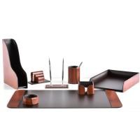 Настольный набор из кожи TOSCANA TAN/CUOIETTO шоколад 8 предметов