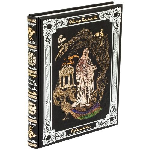 Хайям О.. «Рубайят: Проза и поэзия Азии» в кожаном переплете ручной работы с рельефным цветным и блинтовым тиснением
