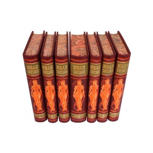 «Иван Ефремов, Собрание сочинений» в 7 томах в кожаном переплете с рисованным обрезом