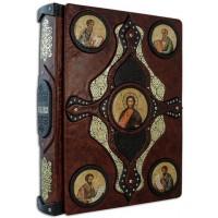 «Библия» в кожаном переплете с иконами святых ручной работы в подарочном мешочке
