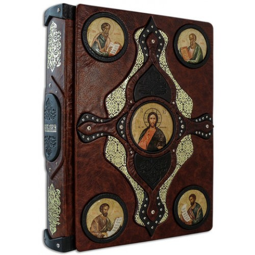 Книга «Библия» в кожаном переплете с иконами святых ручной работы в подарочном мешочке