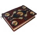 Книга «Библия» в кожаном переплете с иконами святых ручной работы в подарочном мешочке5