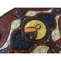 Книга «Библия» в кожаном переплете с иконами святых ручной работы в подарочном мешочке6