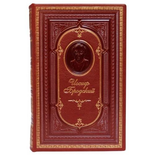 Книга Бродский «Стихотворения» в кожаном переплете с тисненым портретом автора