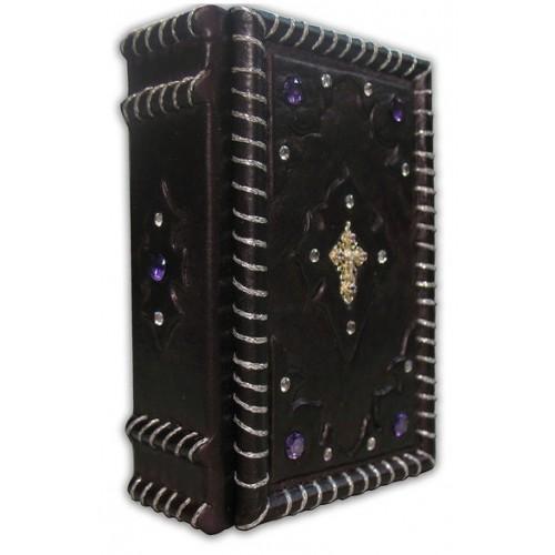 """Книга """"Православный молитвослов миниатюрный"""" в кожаном переплёте с камнями"""