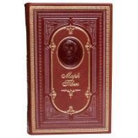 «Приключения Тома Сойера, Приключения Гекльберри Финна» в кожаном переплете с тисненным портретом автора