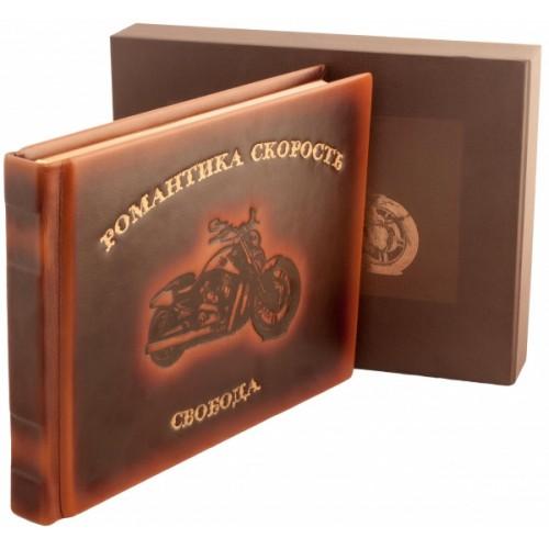 """Подарочная книга """" """"Супер мотоциклы"""" в кожаном переплете с тиснением """""""