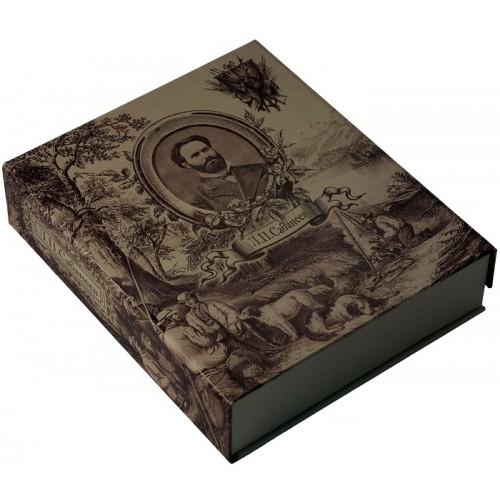 """Подарочная книга """"Сабанеев. Книга рыбака. Расписной обрез. Бронзовый барельеф (в подарочном футляре)"""""""