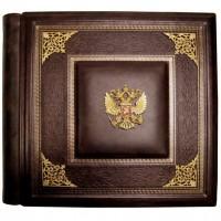 Фотоальбом элитный кожаный. Коричневый. Барельефы из латуни Герб России с уголками.