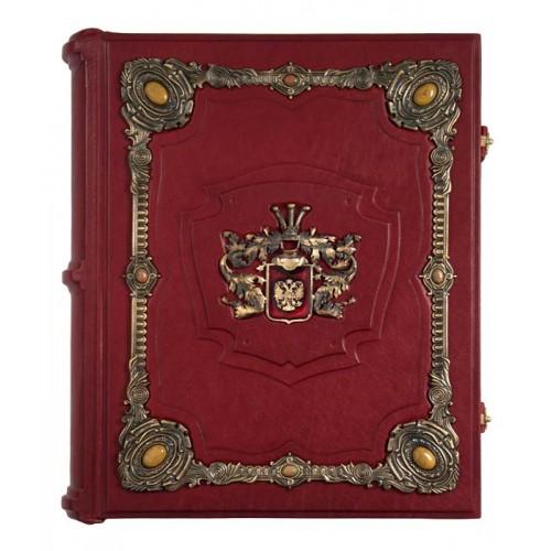 Родословная книга «Ювелирная Модерн» с накладкой «Барокко». Кабошоны из яшмы, бронзовые накладки авторской работы