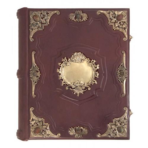 Родословная книга «Ювелирная Славянская» с накладкой «Барокко». Кабошоны из яшмы, бронзовые накладки авторской работы.